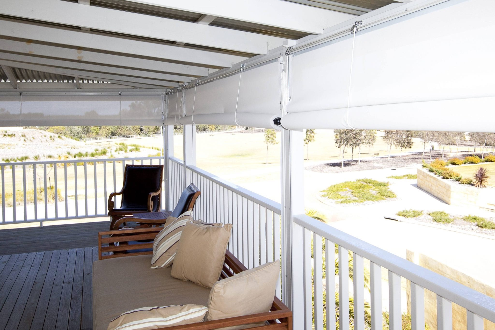 White Patio Blinds For Outdoor Patios